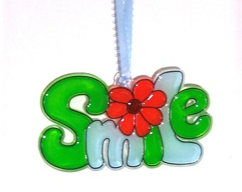 ORNAMENT - SMILE- Acrylic - Green - Blue - Orange - Brown - Handpainted Home Decor