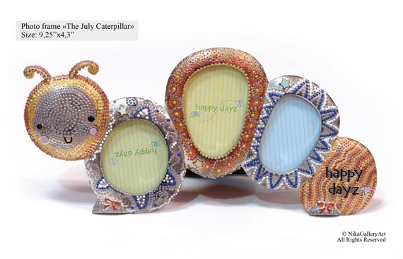 Frame The July caterpillar. Photo frame made Mascagni Spa (Italy), painted by hand by the artist Nick