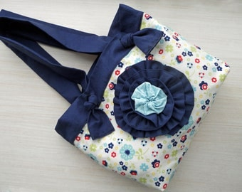 SALE Floral Riley Blake Dress Up Days Tote Bag Purse with flower embellishment Fully Lined