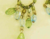 Vintage Tear Drop Glass Beaded Dangle Chandelier Earrings Forest Green and Clear Light Blue