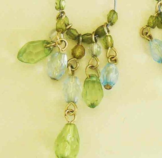 Vintage Tear Drop Glass Beaded Dangle Chandelier Earrings Forest Green and Clear Light Blue