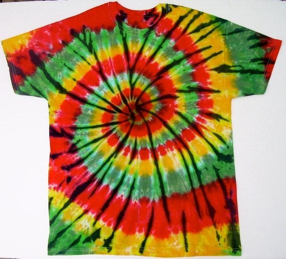 Tie Dye Shirt/ Adult Large/ Rasta Spiral