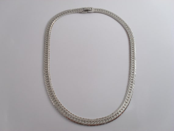 Monet Herringbone Silver Tone 16 in Chain Choker Necklace Vintage c 1970s