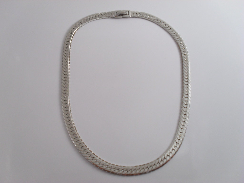 monet herringbone silver tone 16 in chain choker necklace