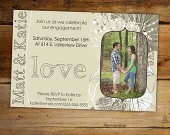 Engagement Party Invitation - Shabby Chic Love love