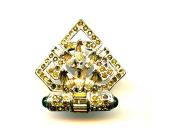 Art Deco/Art Nouveau Sweater Clip or Dress Clip wiith Rhinestones and green stone accents