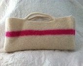 Felted Ivory Tote with Pink Stripe