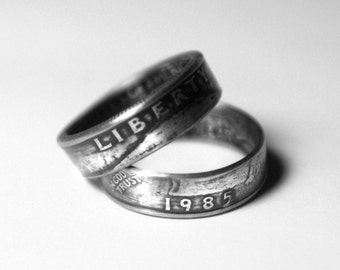 33rd -1985 Coin Ring 33rd Birthday Gift 33rd Anniversary Gift Coin Jewelry made from a 1985 quarter