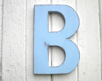 Wooden Letters B 12'' Distressed Big Blue Cut Out Letters Shower Gift Kids Wall Art Nursery Decor Signs