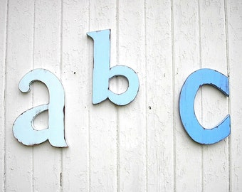 "Nursery Alphabet Wooden Letters ""ABC"" Shabby Chic Kids Wall Art Rustic Decor Babys Room Wall Decor Cabin Cottage Baby Shower"