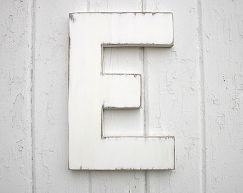 "Distressed Wooden Letters 12"" block style E Shabby chic Letter Big letter"