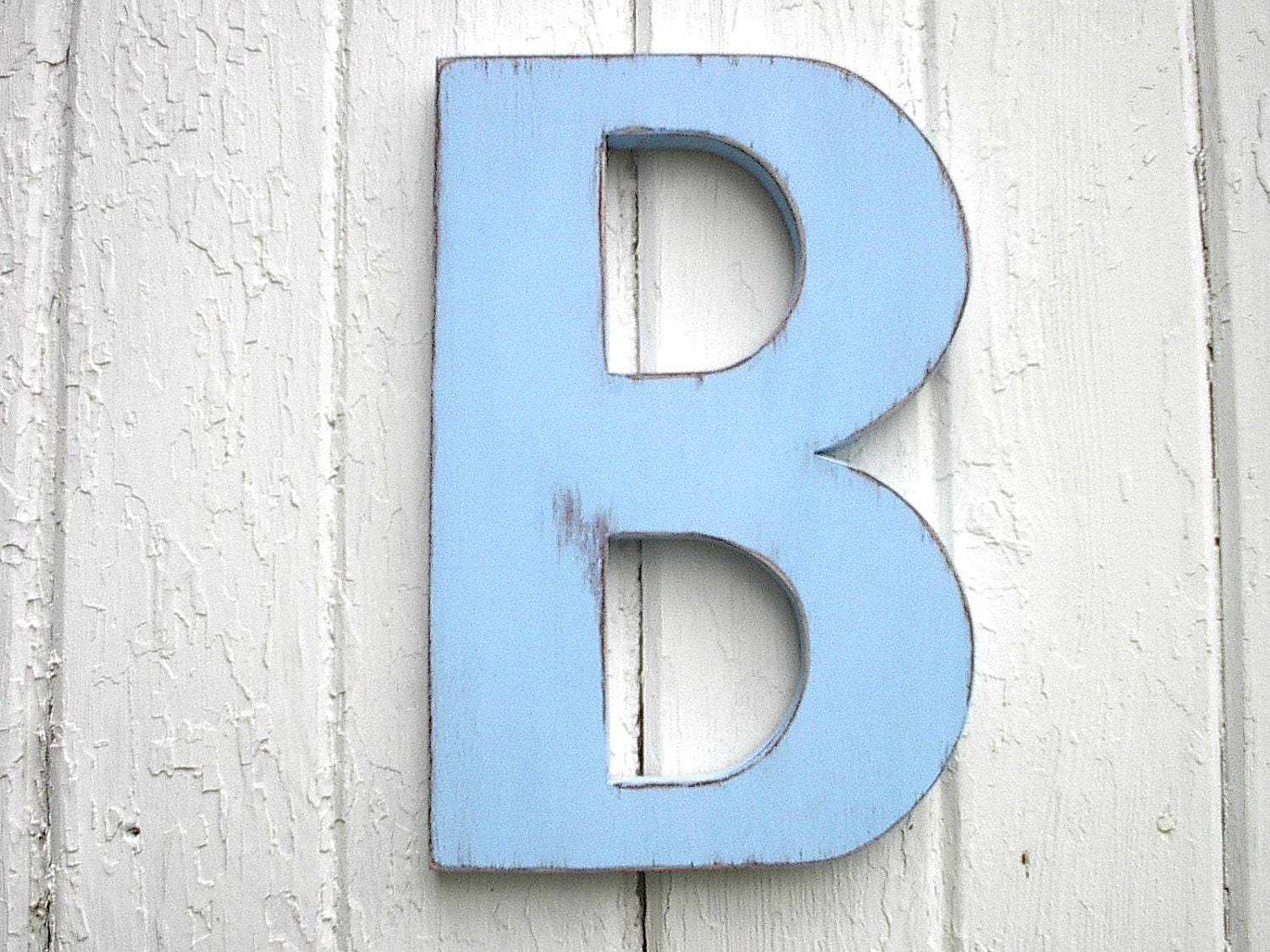 Wooden letters b 12 39 39 distressed big blue cut out for Big wooden letter b