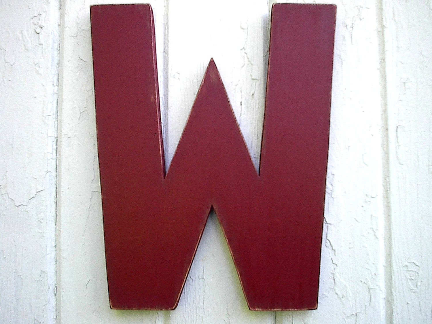 Rustic Wooden Wall Letter W Red Big 12 Inch Kids By