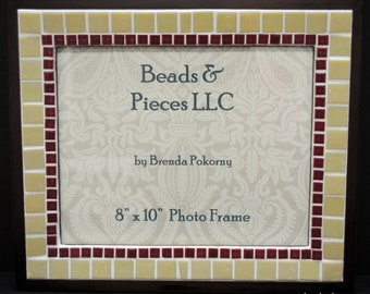 Traditional Burgundy and Sand Mosaic Wall or Tabletop Picture Frame  MOF1277