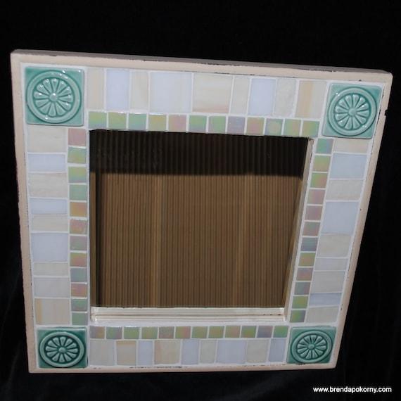 Soft Teal Ceramic Medallions Mosaic Wall Mirror  MOF1236