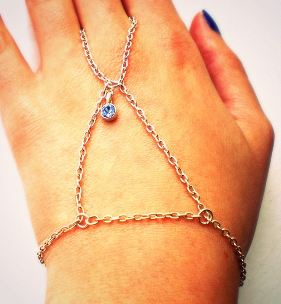 Silver Chain Hand Harness, Hand Chain Ring Bracelet with Pale Blue Stone