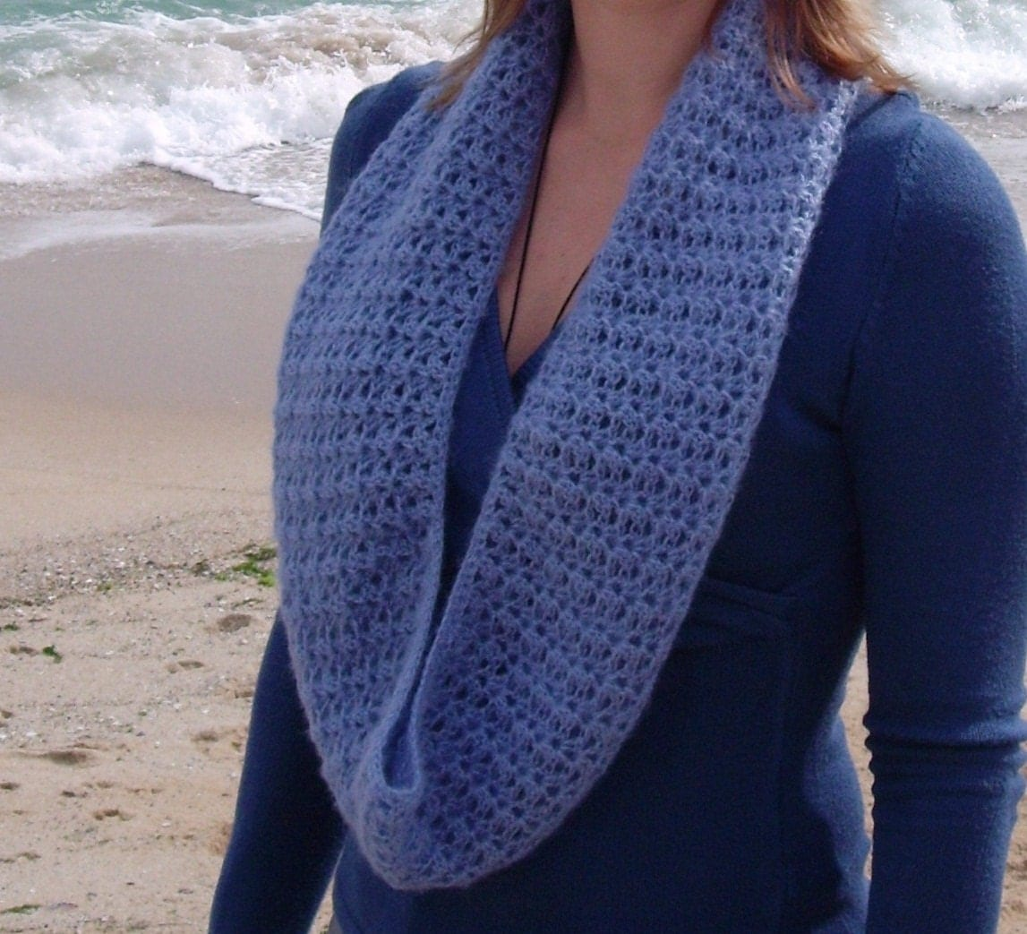 Crochet Lace Patterns Step By Step : PDF PATTERN step-by-step TUTORIAL Crochet cowl lace blue