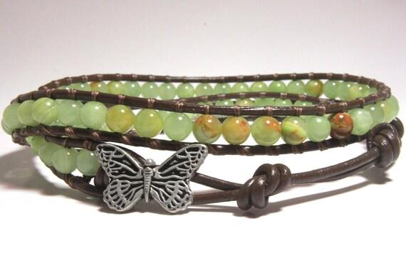 Green Beaded Leather Anklet, Ankle Bracelet