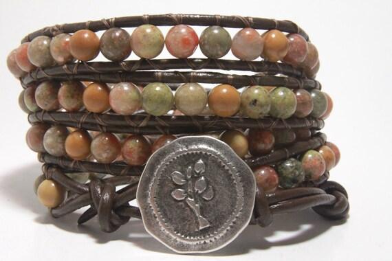 Leather Wrap Bracelet, Beaded Wrap Around Bracelet, Brown Leather Jewelry