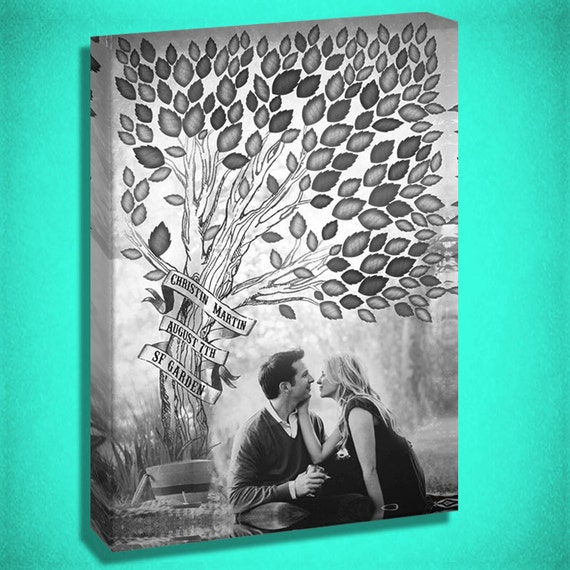 Canvas Guest Book with a Tree for inititals