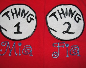Short Sleeve Embroidered Thing 1 or Thing 2 shirt