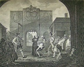 "1822 Engraving ""O the Roast Beef of Old England"" by William Hogarth"