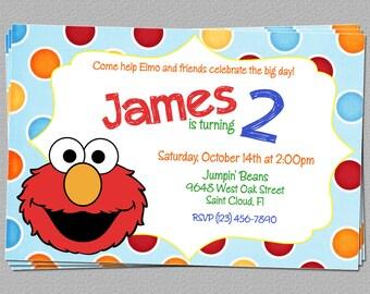 Custom Elmo Inspired Boy or Girl Birthday Party Invitations - DIY Printable File