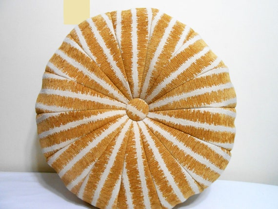 Ikat pattern Pouf Ottoman- Camel and Cream Colors Stripes - Chenille fabric -  floor pillow - 24 x 11 inch -