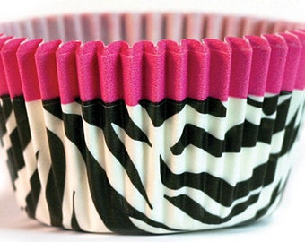 Hot Pink Zebra Cupcake Baking Cups Wrappers 50 pieces, great for your glamour diva rock star party, or bachelorette and wedding chic