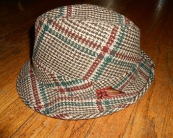 DOBBS Fifth Avenue NY size 7 3/8 tweed plaid fedora vintage men's hat brown burgundy forest green LOOK