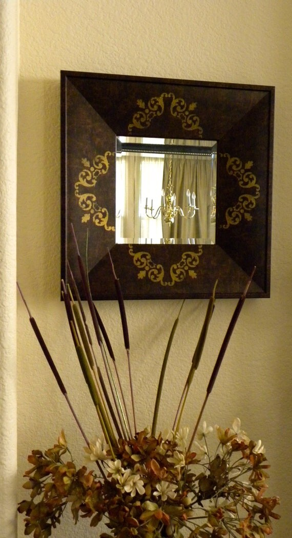 Square Accent Beveled Mirror hand- painted with gold details.