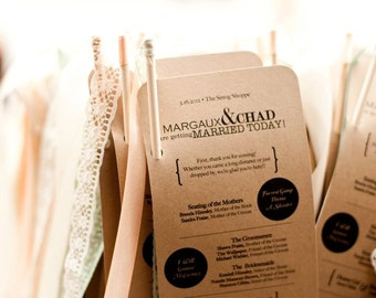 Modern Vintage Wedding Programs with Ribbon Wands - Deposit