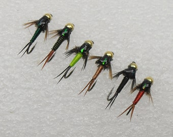 Fly Fishing Flies, Copper John Nymph Fly Selection, Beadhead Flies, Trout Flies, Salmon Flies, One Half Dozen flies