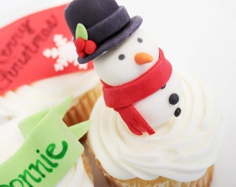 CUSTOM Edible Fondant Cupcake Topper - 1 qty 3D SNOWMAN cupcake toppers great for a winter birthday party or christmas party