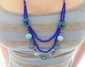 "Cobalt Blue Japanese glass (Farfalle) seed bead, Blue chinese crystal rondelle beads and rubber ""O"" ring necklace"