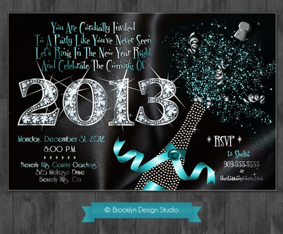 New Year's Party 2013 - Diamonds - Bling - Glitter - Can be changed to any Color you choose - Digital File