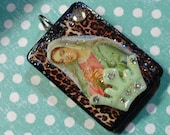 Queen Mother Mary, Rockabilly Religion, Holy Roller series, Rummicube tile pendent
