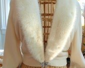 Vintage 1950s Off-White Cashmere Sweater with Mink Collar and Rhinestone Clasp