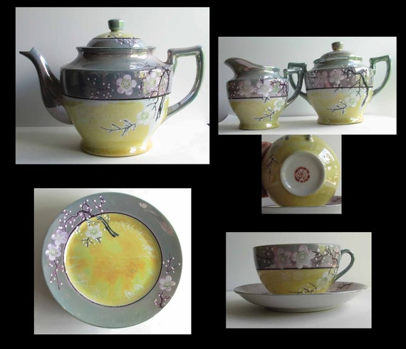 Vintage 1930s Japanese lustreware set, seventeen pieces with weeping cherry branches and white blossoms..  Just gorgeous.