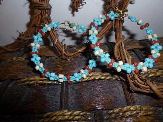 Turquoise  Hoop  Earrings(reduced)