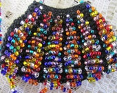 Multicolor shiny glass seed beaded amulet bag