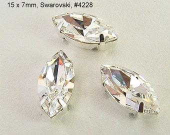 Clear Crystal, 15x7mm Swarovski Navette Sew On Rhinestones, Set of 3 -  Clear, 4228, 4 hole Silver Settings, Navette Rhinestones