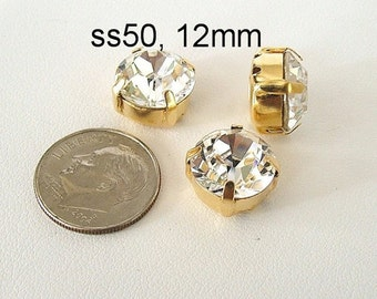 Extra Large Round Chaton Montee Sliders, 12mm Clear Swarovski Crystal, Set of 3, 2 Holes on Each Side, Sew On Rhinestones, SS50, Gold Plated