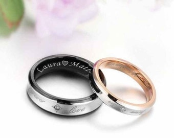 Engraved Promise Ring, Personalized Sweetheart Couple's Ring Set Custom Engraved Free, Personalized Rings, Engraved Ring Set, Free Engraving
