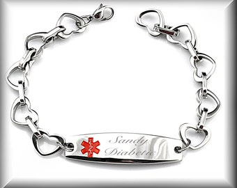 Stainless Steel Heart Link With Medical ID Engraved Free