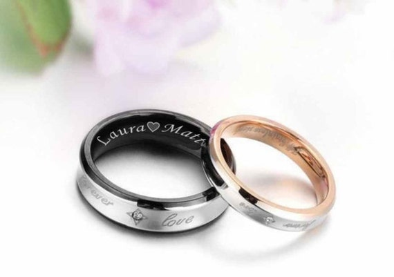 Engraved Promise Ring Personalized Sweetheart Couple's