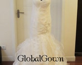 Custom handmade wedding dress-Carina,ice cream color organza fabric wedding dress