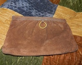 CLEARANCE SALE - Vintage Morris Moskowitz Suede Clutch - Mother's Day gift