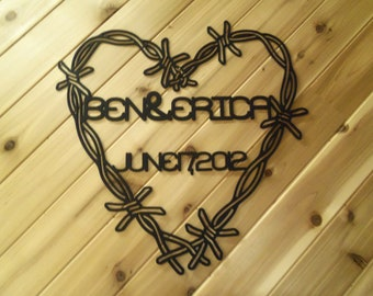 Custom Monogrammed Name and Date - Barbed Wire Heart - Metal Wall Art - Metal Wall Sign By PrecisionCut