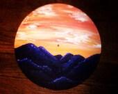 Original Nature Painting of Purple Mountains